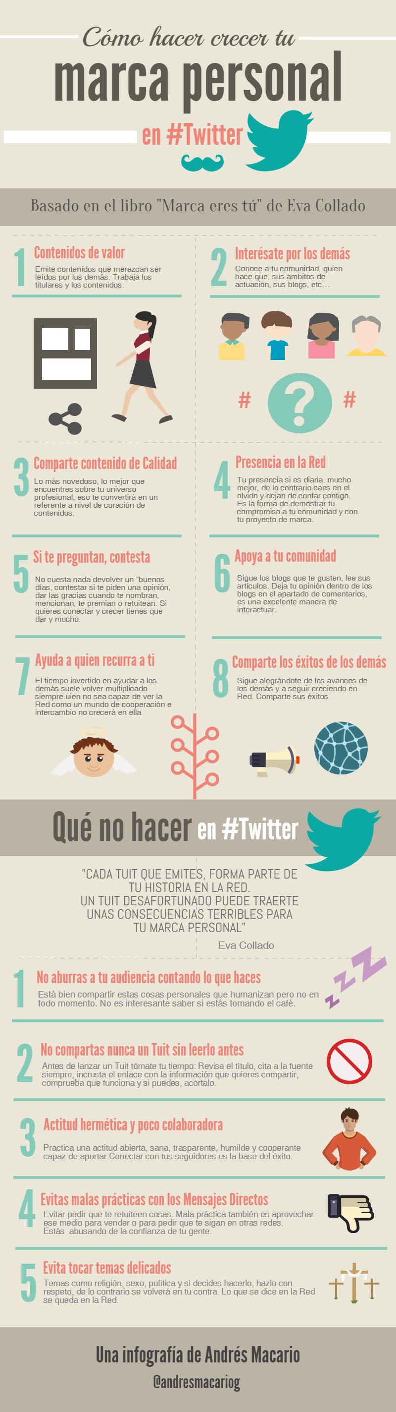 Como hacer crecer tu marca personal en Twitter - infografia Andres Macario
