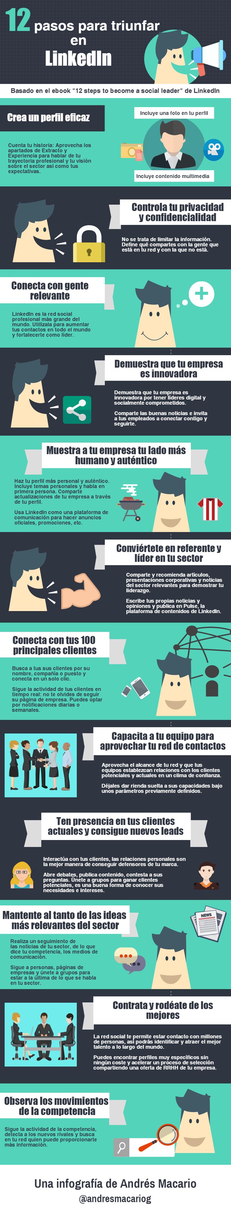 12 pasos para triunfar en LinkedIn Infografia Andres Macario